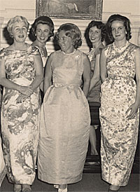 Olivia Burr, Olive Johnson, Britt Delaney, Pete Broughton and Sheila Neville (from left) are pictured at a Moore Regional Hospital Auxiliary Ball during the 1960s.