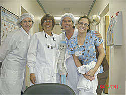 Nevi visits with the clinical staff at the FirstHealth Dental Care Center-Troy.