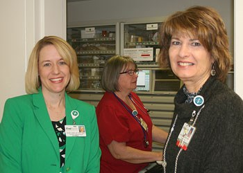 Pamela Gaddy, R.N., Montgomery Memorial Hospital President Beth Walker (at right), and licensed practical nurse Vickie McDowell